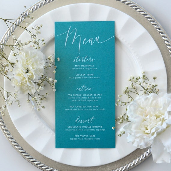 Teal Wedding Menu - White Ink on Teal Shimmer Card Stock - Custom Menu - Dinner Menu Card