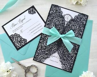 BLACK ROSES Laser Cut Wrap Invitation - Black Laser Cut Wedding Invitation with White Shimmer Insert and Aqua Ribbon Bow