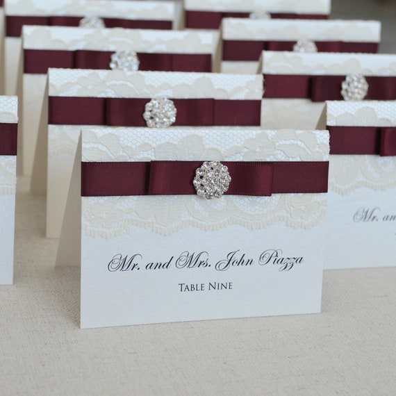 Silver Crystal Button Place Cards - Burgundy and Ivory Lace Escort Cards - Vintage Table Cards - Satin Bow and Rhinestone Button
