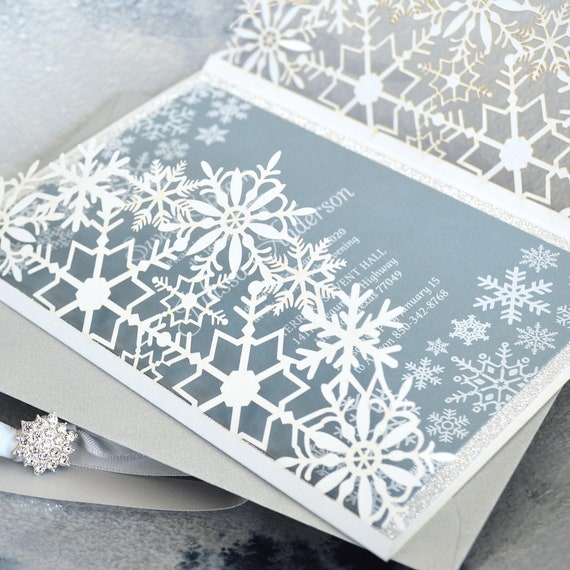 WINTER WONDERLAND Laser Cut Sweet 16 Invitation - White Snowflake Laser Cut Gatefold w/ Silver Glitter & Dusty Blue Card Stock - Quinceañera