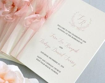 Wedding Program with Blush Sheer Ribbon - Ivory and Blush Pink Wedding Program - Church Program - Folding Program - Custom Wording & Colors
