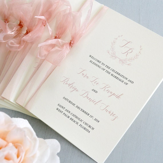 Wedding Program with Blush Sheer Ribbon - Ivory and Blush Pink Wedding Program - Church Program - Folding Program - Custom Wording & Colors