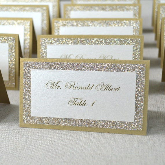 Gold Glitter Place Cards - Tented Escort Cards - Custom Placecard for Wedding, Sweet 16, Quinceañera, Bridal Showers with Glitter Border