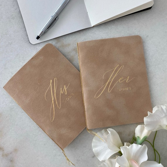 Camel Velvet Vow Books with Gold Foil for Wedding Ceremony - His Vows / Her Vows - Nude Suede Keepsake Book - Styled Shoot Sample