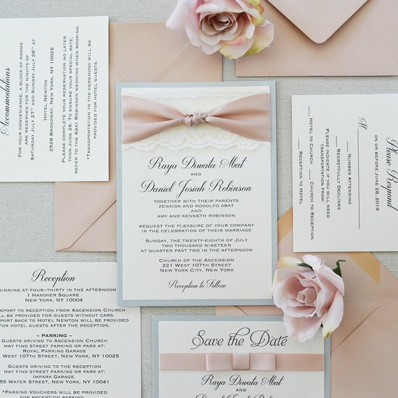 THE KNOT - Ivory Lace Wedding Invitation with Pink Blush Satin Ribbon Know- Silver, Ivory and and Blush Knot Invitation with Lace
