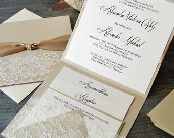 ALEXANDRA - Lace Pocket Wedding Invitation- Beige Sand and Ivory Lace with Handmade Lace Pocket - Lace Wedding Invitation Suite
