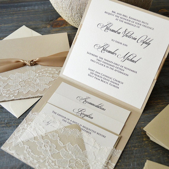ALEXANDRA - Lace Pocket Wedding Invitation- Beige Sand and Ivory Lace with Handmade Lace Pocket - Lace Wedding Invitation Suite