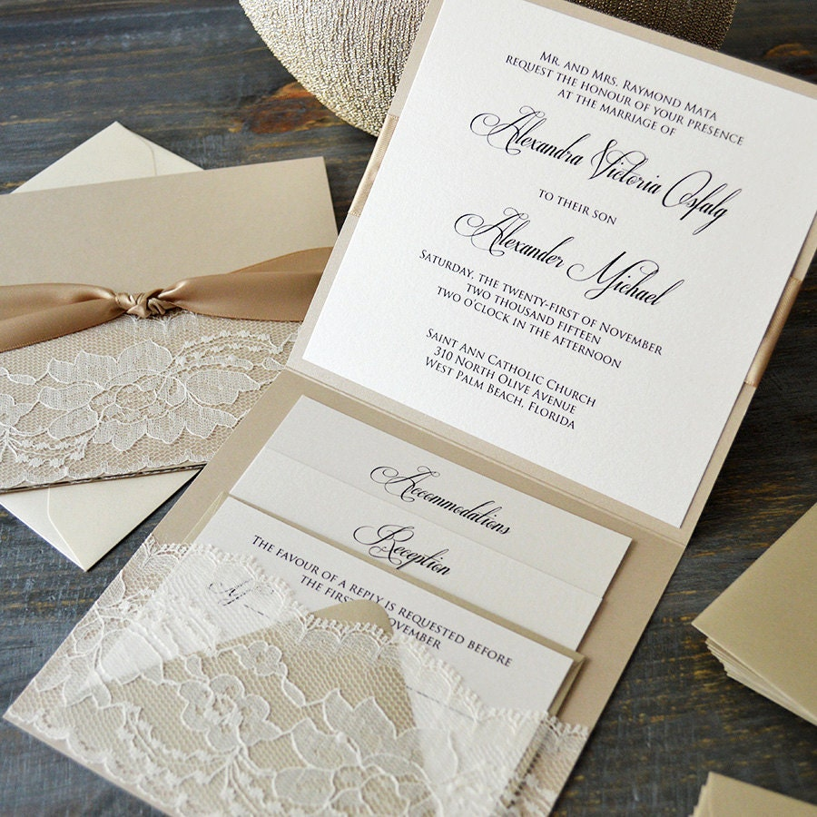 ALEXANDRA - Lace Pocket Wedding Invitation- Beige Sand and Ivory ...