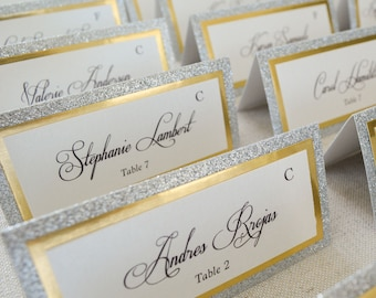 Silver Glitter and Gold Foil Place Cards - Tented Escort Cards - Custom Placecard for Weddings, Sweet 16, Quinceañera, Bridal Showers