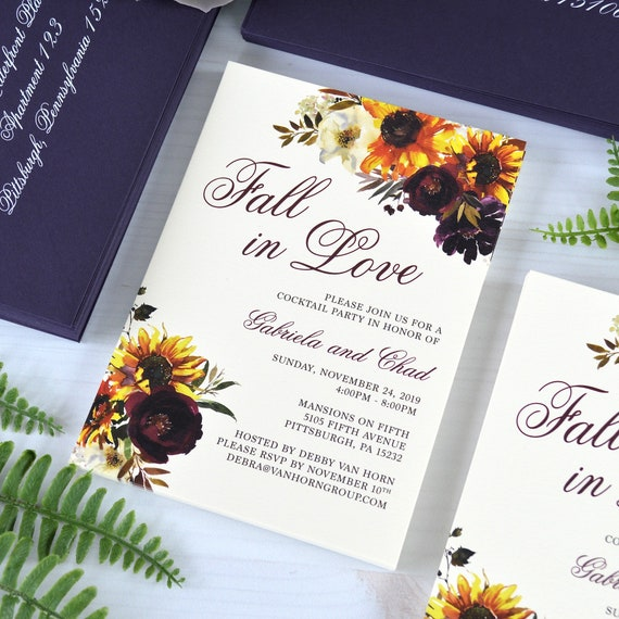 FALL IN LOVE Invitation - Heavy Cream Card Stock with Colored Envelopes - Digital Printing - Sunflowers - Fall Flowers - Custom Design