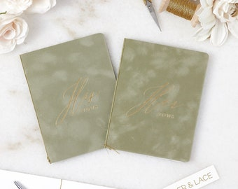 Sage Green Velvet Vow Books with Gold or Silver Foil for Wedding Ceremony - His Vows/Her Vows - Suede Keepsake Book - Styled Shoot Sample