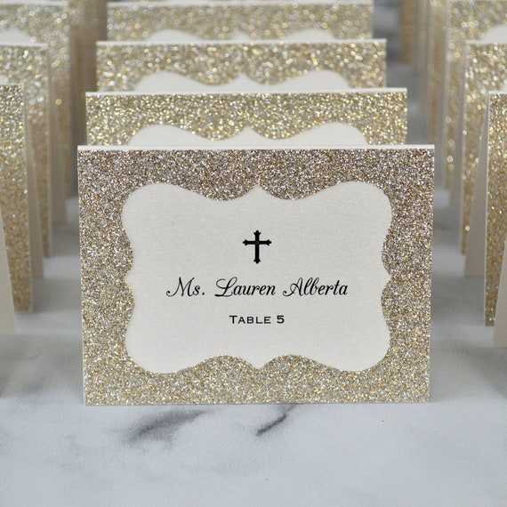 Gold Glitter Place Cards with Cross - Escort Card - Custom Placecard for Communion, Baptism, Christening - Gold Leaf Glitter Frame