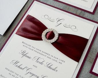 STEFANIE - Burgundy and Silver Glitter Wedding Invitation with Silver Rhinestone Buckle -Elegant and Glamorous Oversized Wedding Invitation