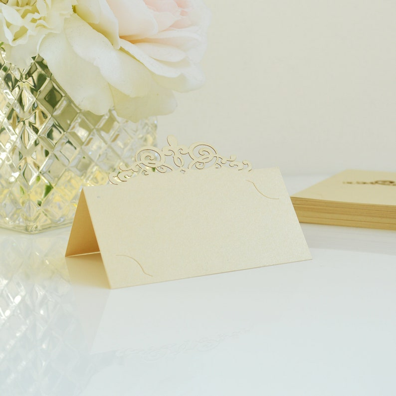 DIY Place Cards for Wedding Bridal Shower Sweet 16 Birthday Party 10 Pack of ChampagneButter Laser Cut Place Cards Quince