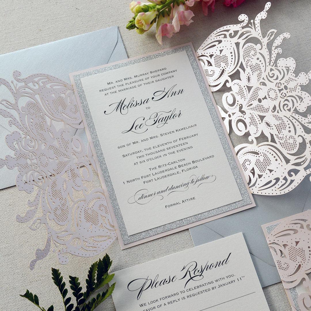 MELISSA SILVER GLITTER-Blush Laser Cut Wedding Invitation with ...