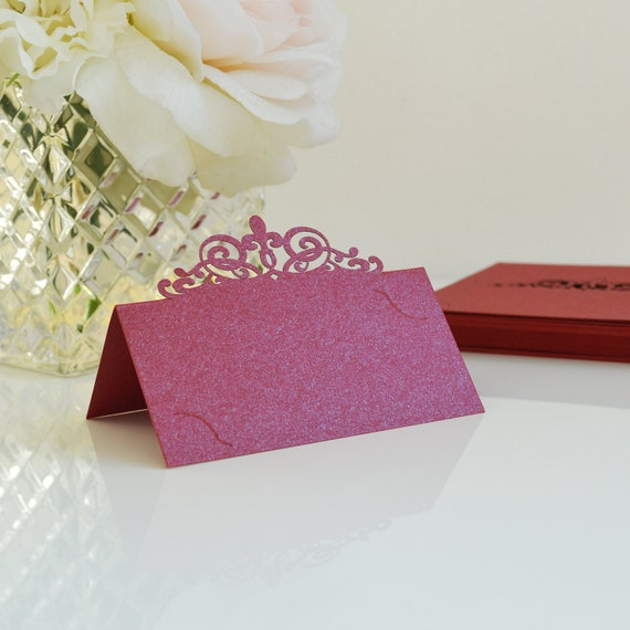 10 Pack of Red Laser Cut Place Cards - DIY Place Cards for Wedding, Bridal Shower, Birthday Party, Quince, Sweet 16