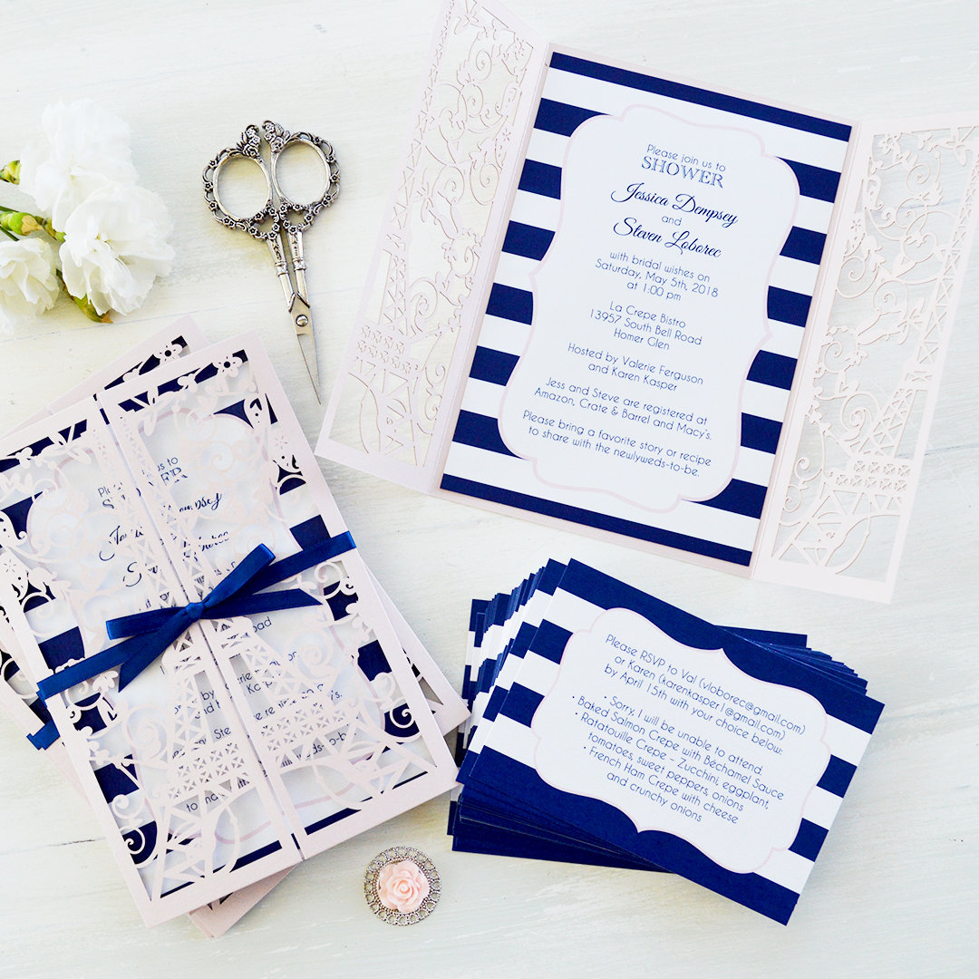 paris eiffel tower laser cut bridal shower invitation blush laser cut invitation paris theme bridal shower invite blush and navy