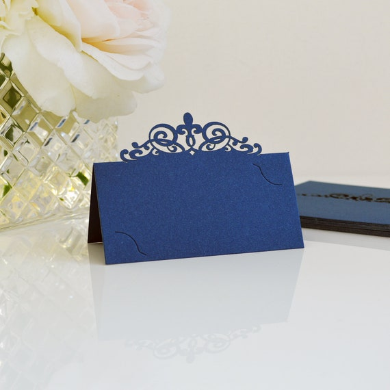 10 Pack of Navy Laser Cut Place Cards - DIY Place Cards for Wedding, Bridal Shower, Birthday Party, Quince, Sweet 16