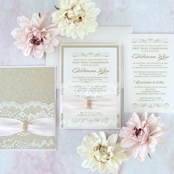 ADRIANA - Lace Pocket Communion Invitation- Blush Pink and Gold Glitter with Ivory Lace Pocket, Blush Ribbon and Gold Rhinestone Brooch
