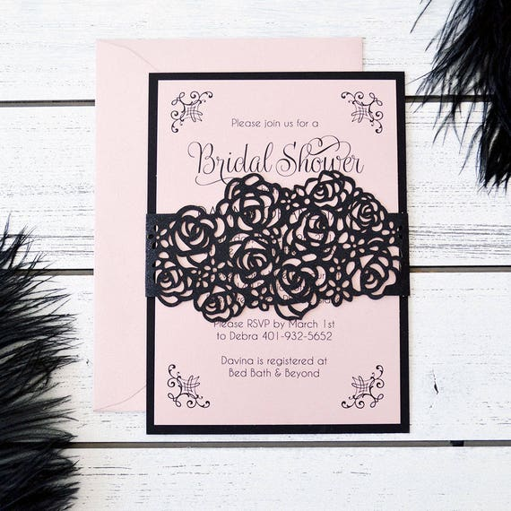 DAVINA - Laser Cut Roses Bridal Shower Invitation - Black and Blush Bridal Shower Invite with Black Glitter Laser Cut Roses Belly Band