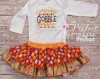 Thanksgiving Outfit | Fall Baby Set | Gobble Gobble | Turkey Day | My First Thanksgiving | Baby Fall Outfit | Fall Skirt | Thanksgiving Baby