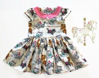 aa120b8c0 Kitten Dress | Girls Dress | Cat Dress | Toddler Dress | Baby Girl Dress |  Kittens | Cats | Birthday Dress | Cat Party | I love Cats | Kitty