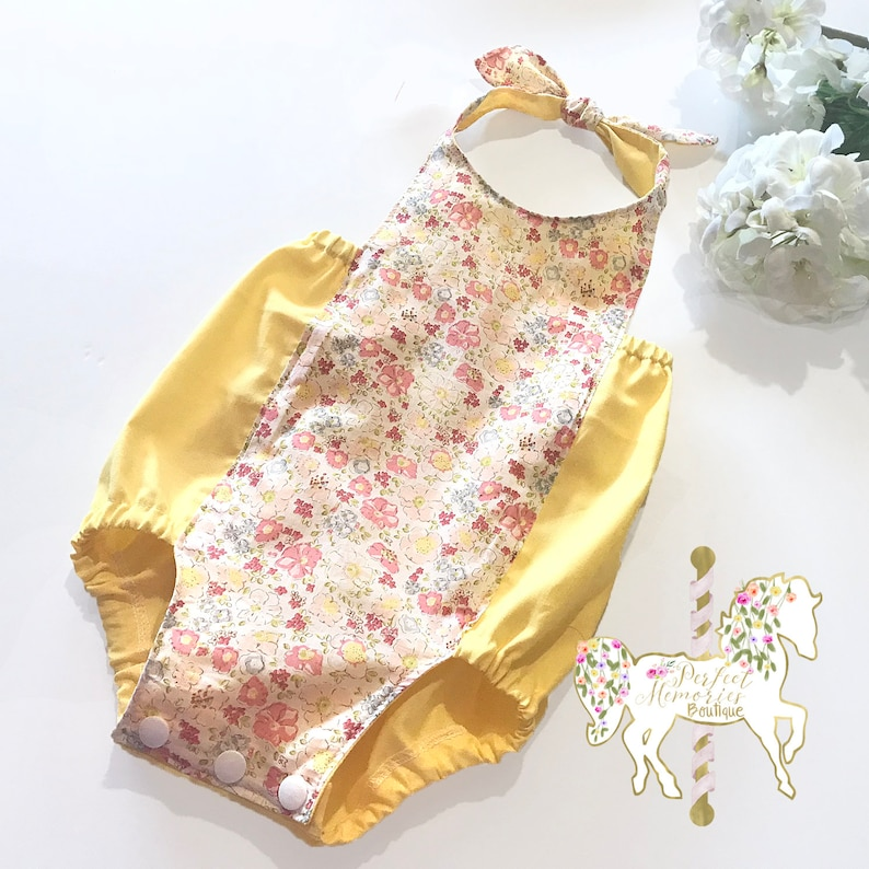 Baby Girl Clothing Baby Playsuit Spring Baby Romper Floral Romper Spring Baby Romper Halter Romper Easter Baby Girl Romper