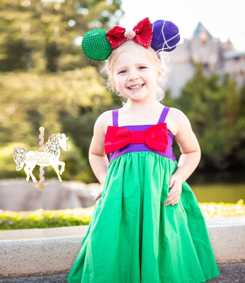 New Handmade Purple Ariel Mermaid Dress Toddler//Girls 2T-9//10 Bow Doll Dress