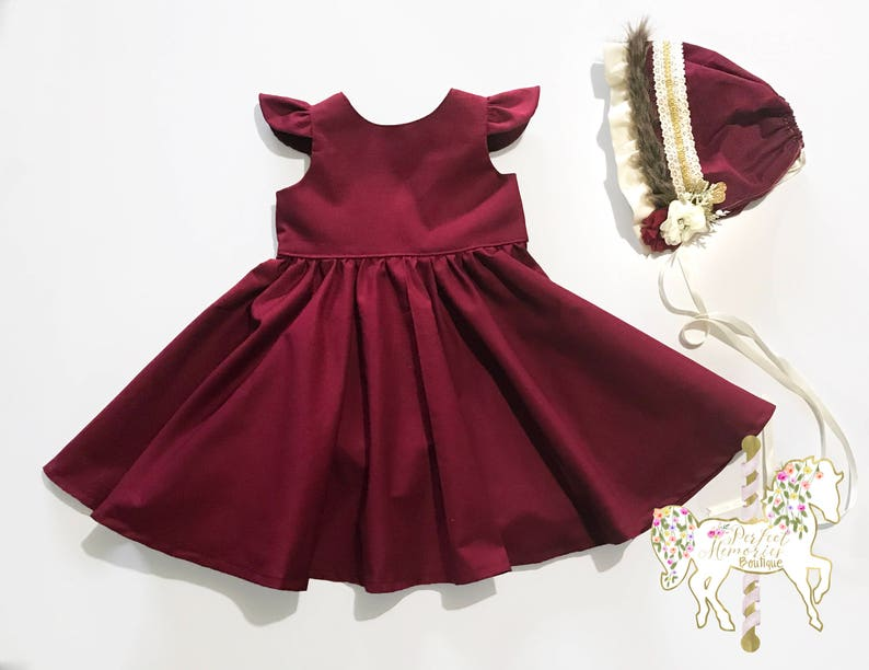956d3af74 Classic Crimson Dress Christmas Dress Burgundy Girls | Etsy