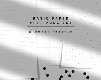 Basic Paper Printable Set. Lined paper, Graph paper n Dotted paper. Planner Inserts. Agenda Refill A5. KNNOT. Instant Download