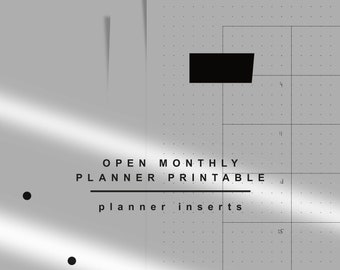 Planner Inserts. Agenda Refill A5. Open monthly Planner Printable. Undated Calendar. KNNOT. Direct download.