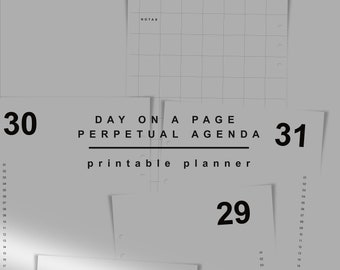 Day On A Page Planner Inserts. Downloadable Agenda Refill A5. Open monthly Planner Printable. Undated Day Plan. KNNOT