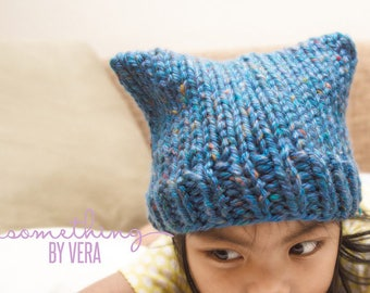 Knit Cat Hat - Ready to Ship, Free Shipping!