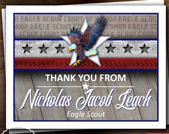Eagle Scout Court of Honor Thank You Note: Wings and Star Bars Native Wood - Digital File