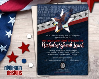 Eagle Scout Court of Honor Invitation: Wings and Star Bars B - Digital File