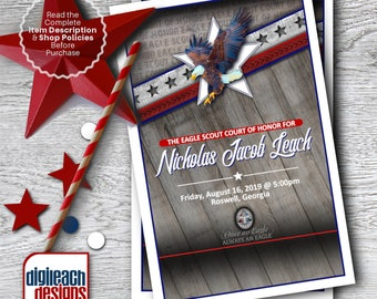 Eagle Scout Court of Honor Program Cover: Wings and Star Bars Native Wood - Digital File