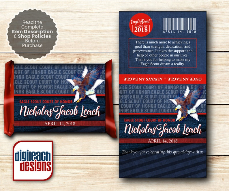 Eagle Scout Court of Honor Chocolate Covered Wafer Candy Bar image 0