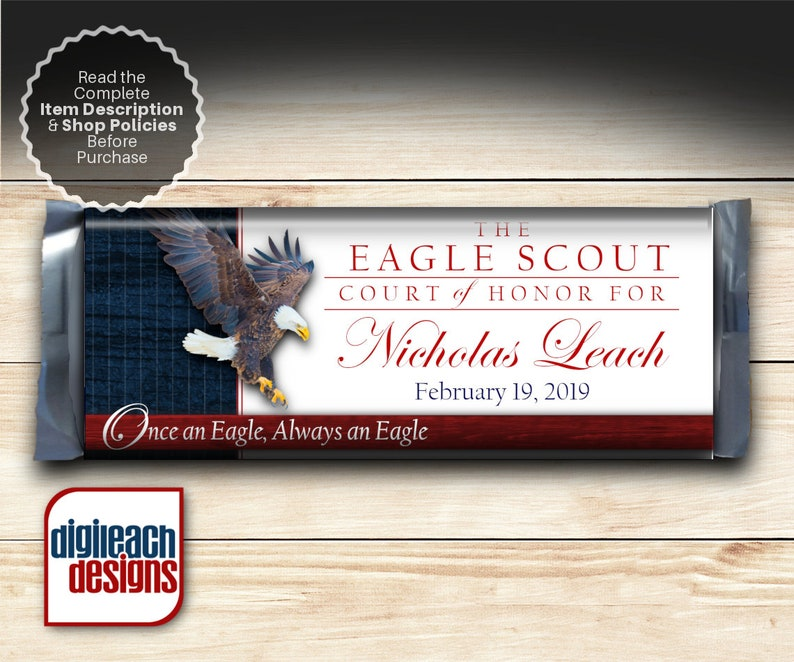 Eagle Scout Court of Honor Full Size Candy Bar Wrapper: Eagle image 0