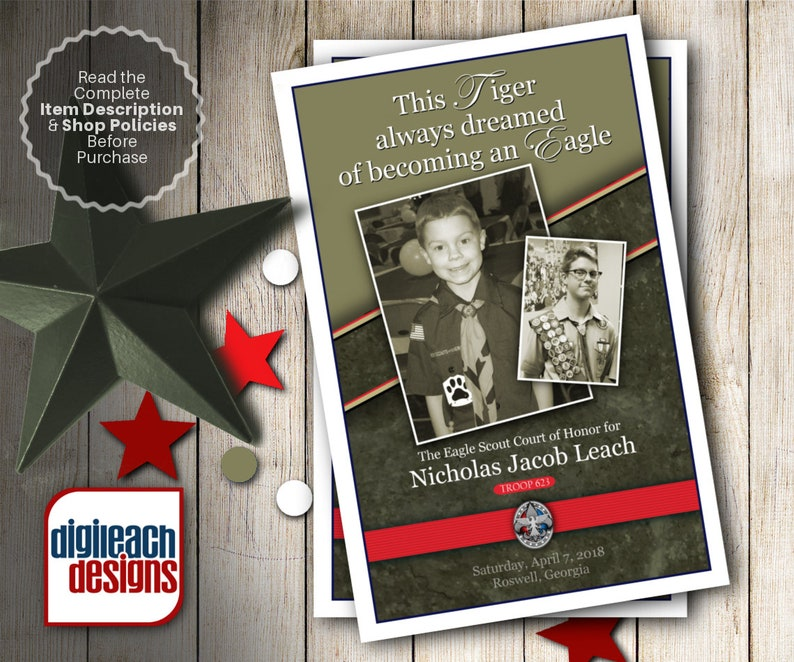 Eagle Scout Court of Honor Program Cover: Journey from Tiger image 0