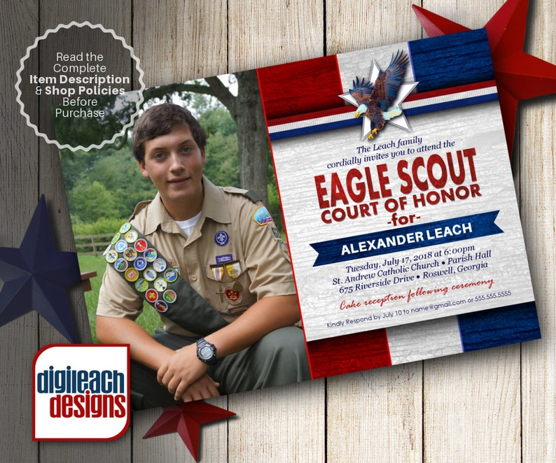 Eagle Scout Court of Honor Invitation: Patriotic Stripes in image 0