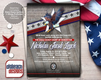 Eagle Scout Court of Honor Invitation: Wings and Star Bars Native Wood - Digital File