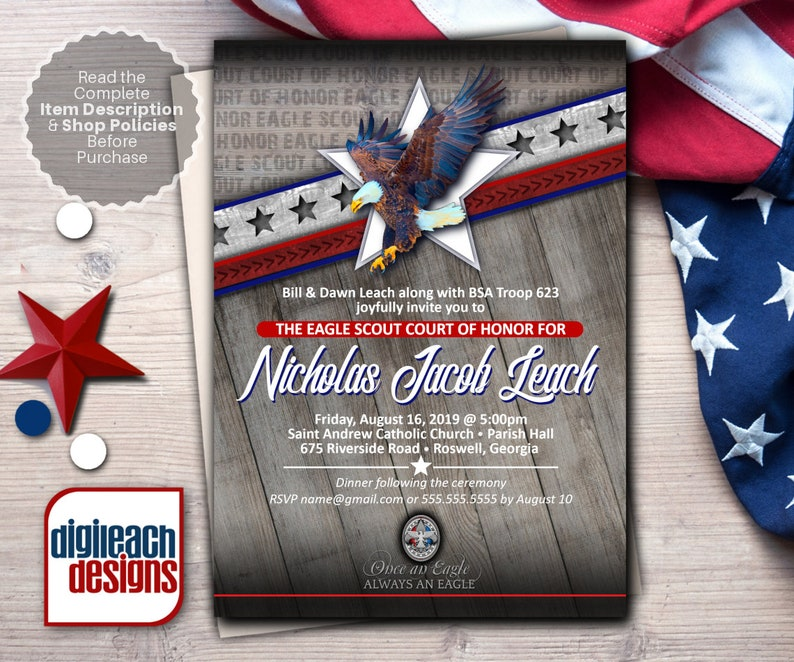Eagle Scout Court of Honor Invitation: Wings and Star Bars image 0