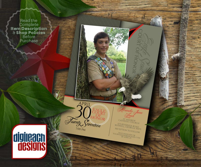 Eagle Scout Court of Honor Invitation: Sage and Script Photo image 0