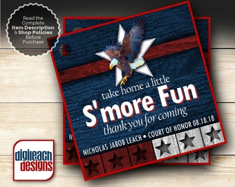 Eagle Scout Court of Honor S'mores Tags: Wings and Star Bars B - Digital File
