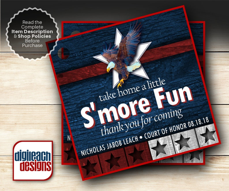 Eagle Scout Court of Honor S'mores Tags: Wings and Star image 0