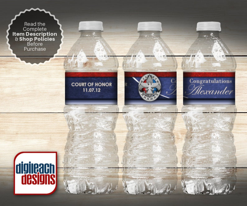 Eagle Scout Court of Honor Water Bottle Label: Leather Blues  image 0