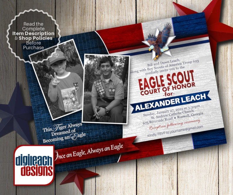 Eagle Scout Court of Honor Invitation: Patriotic Tiger to image 0