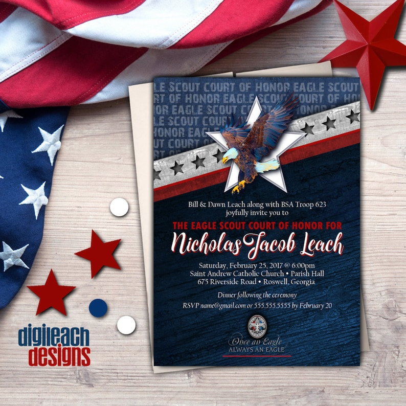 Eagle Scout Court of Honor Invitation: Wings and Star Bars B  image 0