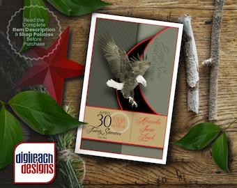Eagle Scout Court of Honor Program Cover: Sage and Script Eagle - Digital File