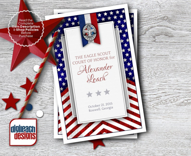 Eagle Scout Court of Honor Program Cover: Patriotic Flag  image 1